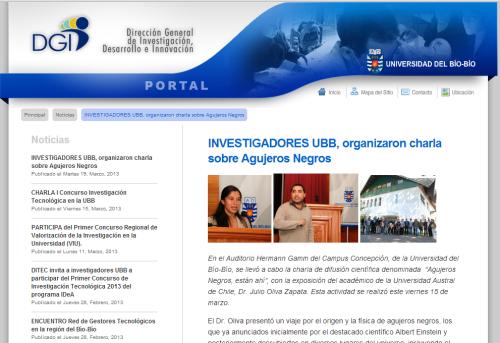 CosmoConce 2013 en Portal de Investigación, Desarrollo e Innovación