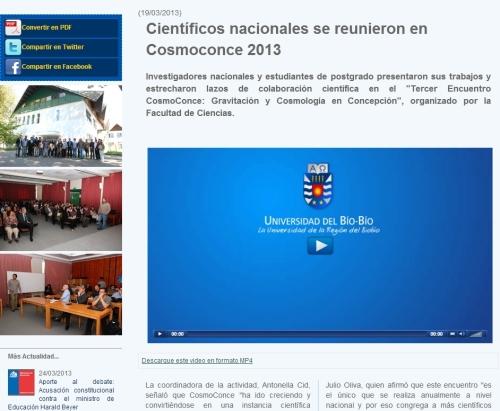 Video y Entrevistas de la Cobertura de Prensa de la Universidad del Bío-Bío a CosmoConce2013